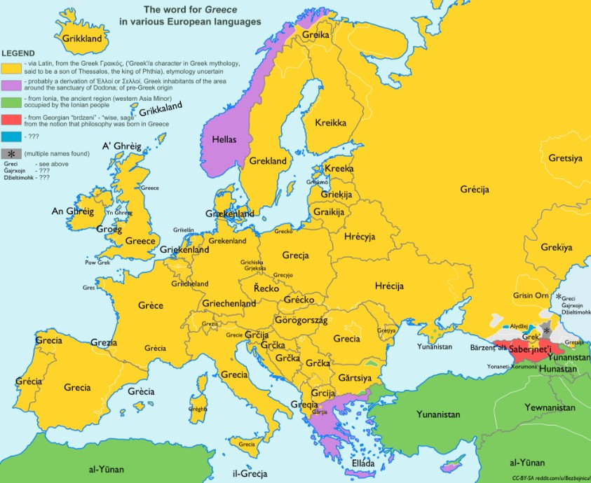 Map Shows The Word For Greece In Europe Languages Best Of Greece